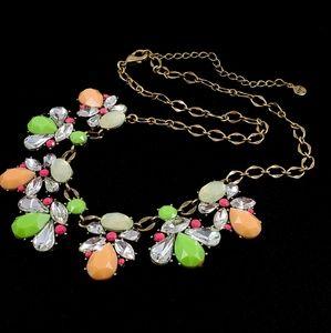 LOFT Statement Necklace Rhinestones Green Peach